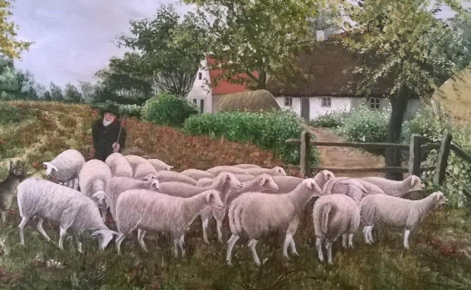 Schapen hoeden - schilderij Louis Steeghs