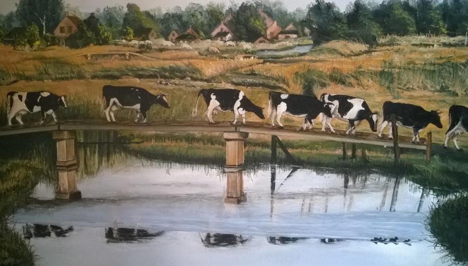 Koeien op Pad - schilderij Louis Steeghs
