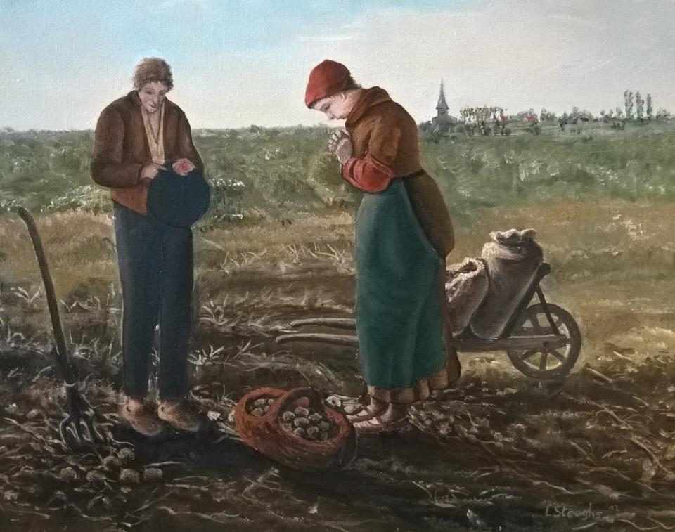 Angelus Gebed Middaguur - Schilderij Louis Steeghs