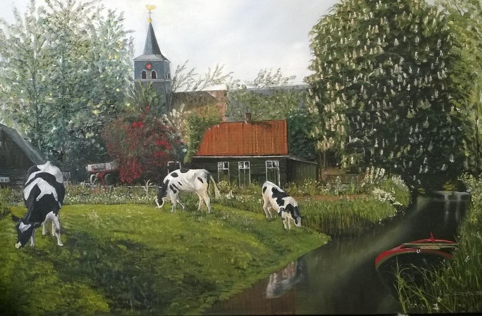 Noord Hollands dorp met Kerk en Koeien - Schilderij Louis Steeghs