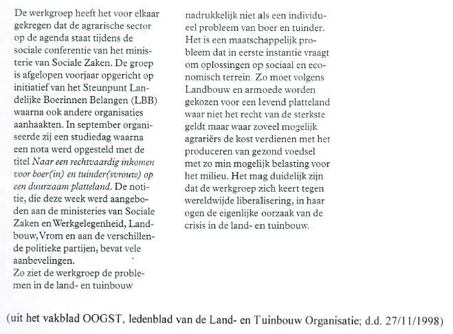 1998 Rechtvaardig inkomen platteland maatschappelijk probleem - LBB, Oogst 27-11