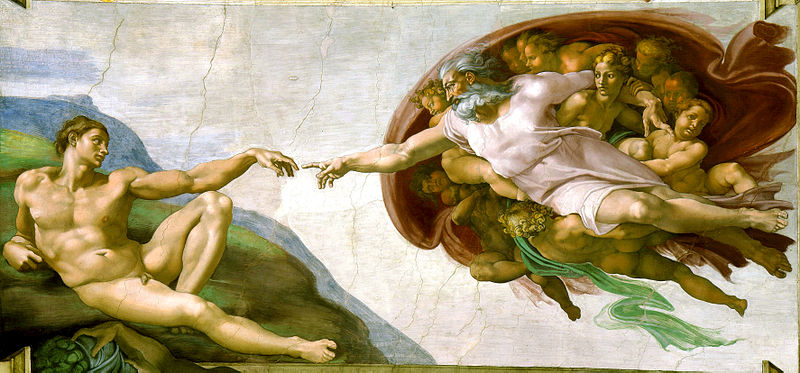 1511 Schepping van Adam - Michelangelo