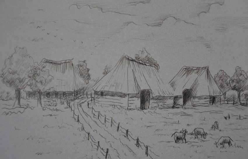 Buurtschap de Heitrak - prent uit boek 600 jaar onderweg naar Neerkant