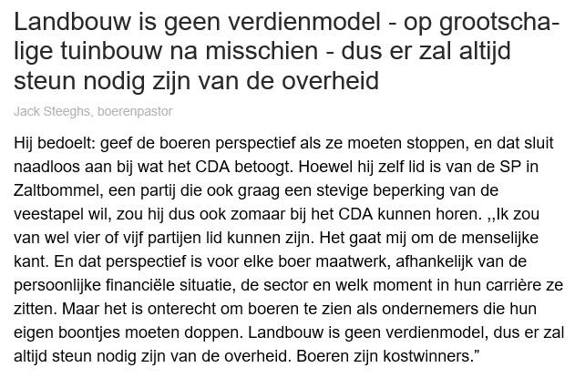 2021 Landbouw geen verdienmodel maar kostwinnersmodel - Boerenpastor Jack Steeghs in BD 7 juli
